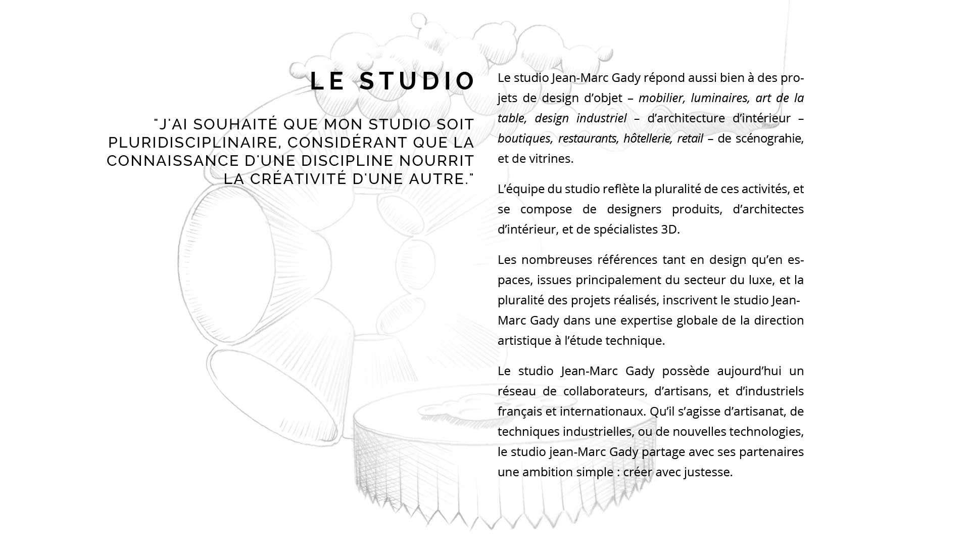 Studio Jean Marc Gady about | jean marc gady